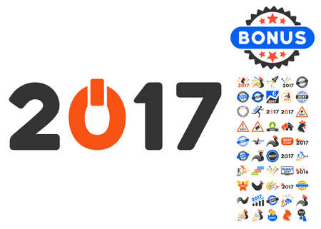 turn of the year: Start 2017 Year icon with bonus 2017 new year design elements. Vector illustration style is flat iconic symbols,modern colors.