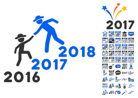 lift up: Years Guys Help icon with bonus 2017 new year icon set. Vector illustration style is flat iconic symbols,modern colors.