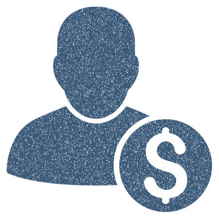 moneymaker: Businessman grainy textured icon for overlay watermark stamps. Flat symbol with dirty texture. Dotted vector blue ink rubber seal stamp with grunge design on a white background.