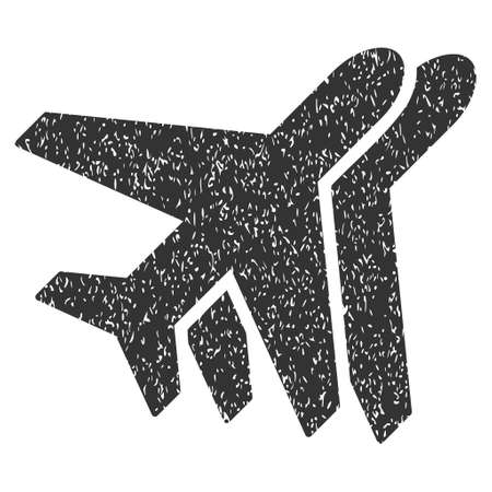 Airplanes rubber seal stamp watermark. Icon symbol inside rounded rectangular frame with grunge design and scratched texture. Unclean vector gray ink emblem on a white background.