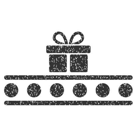 rulos: Transporte de equipaje marca de agua sello de junta de goma. Símbolo del icono dentro de marco rectangular redondeado con diseño de grunge y textura rayado. Impuro vector emblema de tinta gris sobre un fondo blanco. Vectores