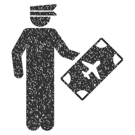 military draft: Officer rubber seal stamp watermark. Icon symbol inside rounded rectangular frame with grunge design and dust texture. Unclean vector gray ink sticker on a white background.