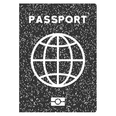 Passport rubber seal stamp watermark. Icon symbol inside rounded rectangular frame with grunge design and dirty texture. Unclean vector gray ink sign on a white background.