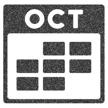 october calendar: October Calendar Grid grainy textured icon for overlay watermark stamps. Flat symbol with dust texture. Dotted vector gray ink rubber seal stamp with grunge design on a white background. Vectores