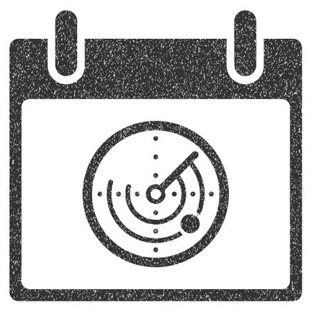 Radar Calendar Day grainy textured icon for overlay watermark stamps. Flat symbol with scratched texture. Dotted vector gray ink rubber seal stamp with grunge design on a white background.