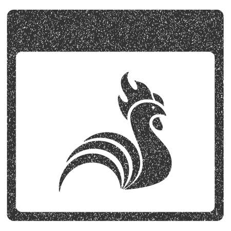 bantam hen: Rooster Calendar Page grainy textured icon for overlay watermark stamps. Flat symbol with dirty texture. Dotted vector gray ink rubber seal stamp with grunge design on a white background. Illustration