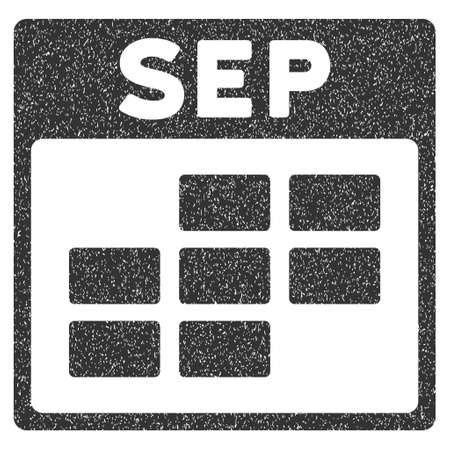 september calendar: September Calendar Grid grainy textured icon for overlay watermark stamps. Flat symbol with unclean texture. Dotted vector gray ink rubber seal stamp with grunge design on a white background.