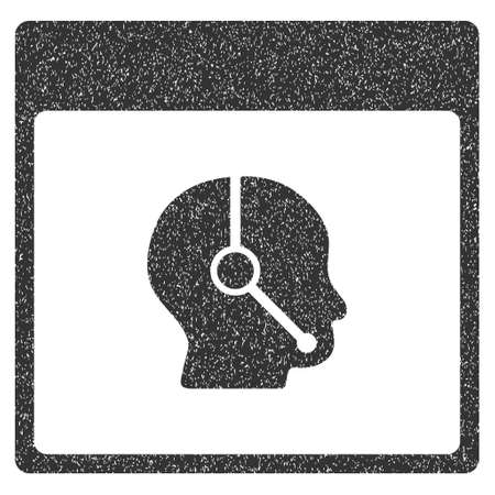 talker: Telemarketing Operator Calendar Page grainy textured icon for overlay watermark stamps. Flat symbol with dust texture.