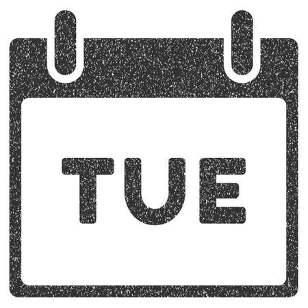tuesday: Tuesday Calendar Page grainy textured icon for overlay watermark stamps. Flat symbol with scratched texture. Dotted vector gray ink rubber seal stamp with grunge design on a white background. Illustration