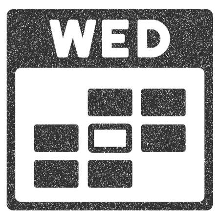 wednesday: Wednesday Calendar Grid grainy textured icon for overlay watermark stamps. Flat symbol with scratched texture. Dotted vector gray ink rubber seal stamp with grunge design on a white background.