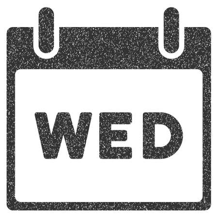 wednesday: Wednesday Calendar Page grainy textured icon for overlay watermark stamps. Flat symbol with dirty texture. Dotted vector gray ink rubber seal stamp with grunge design on a white background. Illustration