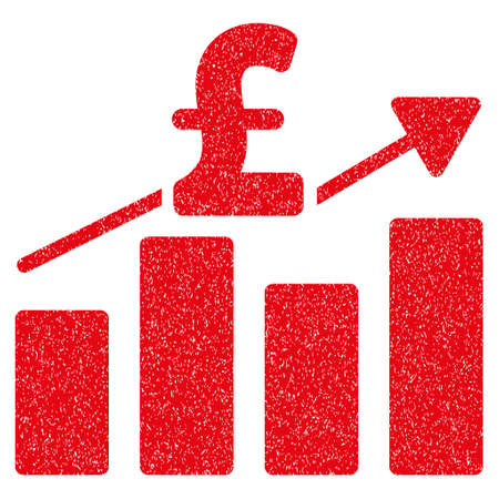 Pound Business Chart grainy textured icon for overlay watermark stamps. Flat symbol with scratched texture. Dotted vector red ink rubber seal stamp with grunge design on a white background.