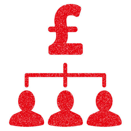 command structure: Pound Payment Relations grainy textured icon for overlay watermark stamps. Flat symbol with dust texture. Dotted vector red ink rubber seal stamp with grunge design on a white background.