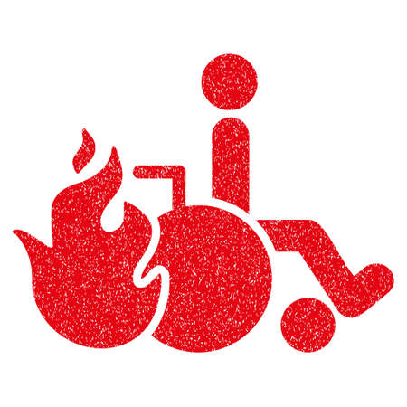 Burn Patient grainy textured icon for overlay watermark stamps. Flat symbol with dirty texture. Dotted vector red ink rubber seal stamp with grunge design on a white background. Illustration