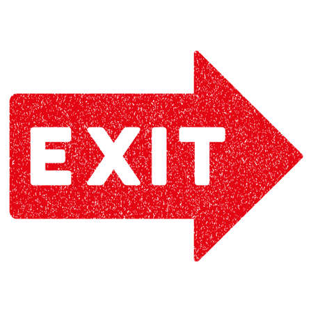 Exit Arrow grainy textured icon for overlay watermark stamps. Flat symbol with unclean texture. Dotted vector red ink rubber seal stamp with grunge design on a white background.