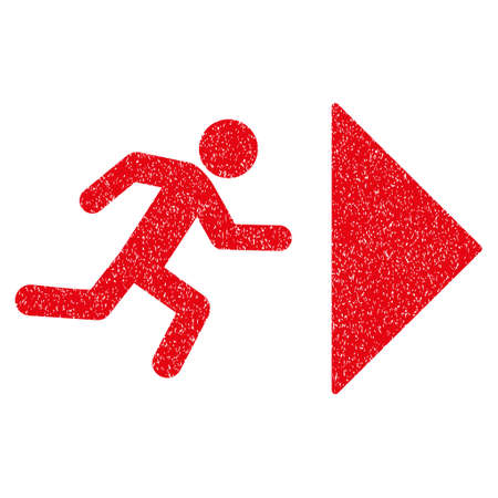 depart: Exit Direction grainy textured icon for overlay watermark stamps. Flat symbol with unclean texture. Dotted vector red ink rubber seal stamp with grunge design on a white background.
