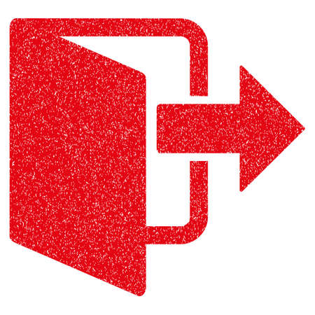 portone: Exit Door grainy textured icon for overlay watermark stamps. Flat symbol with unclean texture. Dotted vector red ink rubber seal stamp with grunge design on a white background. Vettoriali