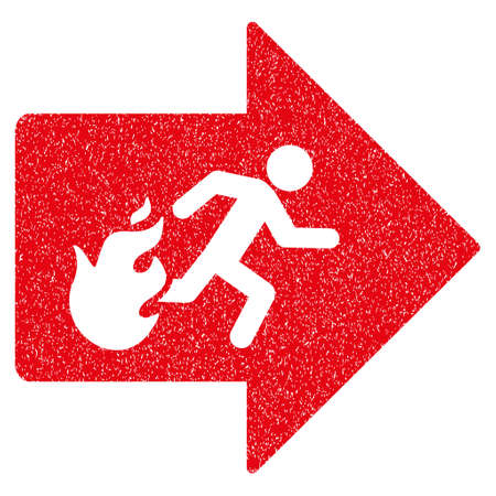 burn out: Fire Exit grainy textured icon for overlay watermark stamps. Flat symbol with unclean texture. Dotted vector red ink rubber seal stamp with grunge design on a white background. Illustration
