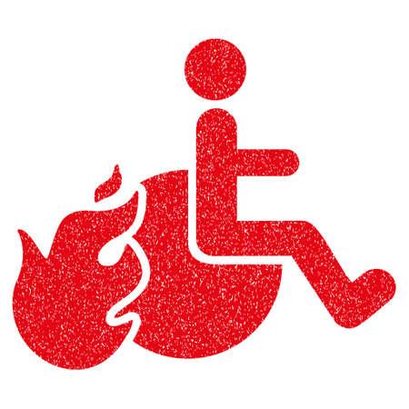 Fired Patient korrelige structuur icoon voor overlay watermerken. Flat symbool met vuile textuur. Gestippelde vector rode inkt rubberen afdichting stempel met grunge ontwerp op een witte achtergrond.