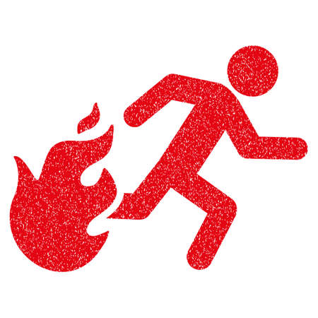 Fired Running Man grainy textured icon for overlay watermark stamps. Flat symbol with dirty texture. Dotted vector red ink rubber seal stamp with grunge design on a white background.