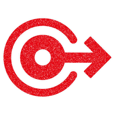 log out: Log Out grainy textured icon for overlay watermark stamps. Flat symbol with dirty texture. Dotted vector red ink rubber seal stamp with grunge design on a white background.