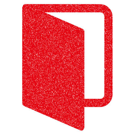 log off: Open Door grainy textured icon for overlay watermark stamps. Flat symbol with scratched texture. Dotted vector red ink rubber seal stamp with grunge design on a white background.