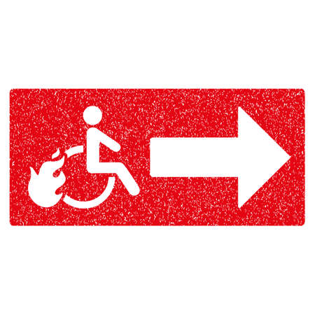 evacuate: Patient Exit grainy textured icon for overlay watermark stamps. Flat symbol with unclean texture. Dotted vector red ink rubber seal stamp with grunge design on a white background.