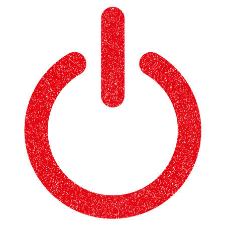 log out: Turn Off grainy textured icon for overlay watermark stamps. Flat symbol with scratched texture. Dotted vector red ink rubber seal stamp with grunge design on a white background.
