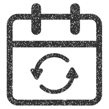 Update Day grainy textured icon for overlay watermark stamps. Flat symbol with dust texture. Dotted vector gray ink rubber seal stamp with grunge design on a white background.
