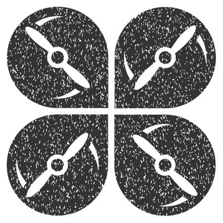 Airdrone Screws Rotation grainy textured icon for overlay watermark stamps. Flat symbol with scratched texture. Dotted vector gray ink rubber seal stamp with grunge design on a white background. Illustration