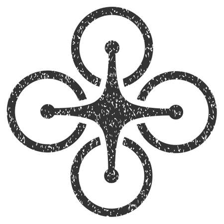 airflight: Airdrone grainy textured icon for overlay watermark stamps. Flat symbol with unclean texture. Dotted vector gray ink rubber seal stamp with grunge design on a white background.