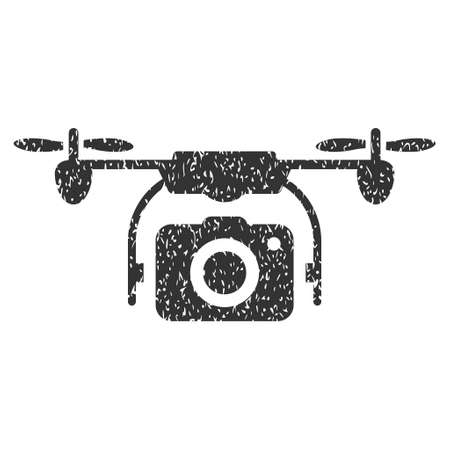airflight: Camera Drone grainy textured icon for overlay watermark stamps. Flat symbol with dust texture. Dotted vector gray ink rubber seal stamp with grunge design on a white background.
