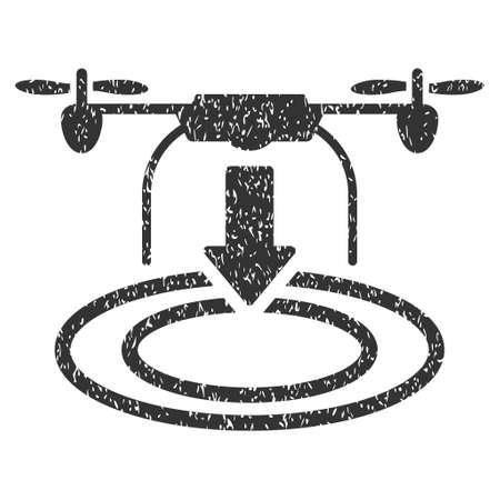 Drone Landing grainy textured icon for overlay watermark stamps. Flat symbol with scratched texture. Dotted vector gray ink rubber seal stamp with grunge design on a white background. Illustration
