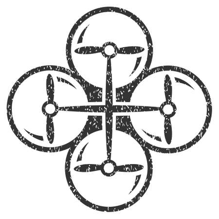 airflight: Drone Screws grainy textured icon for overlay watermark stamps. Flat symbol with dust texture. Dotted vector gray ink rubber seal stamp with grunge design on a white background. Illustration