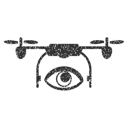 airflight: Eye Spy Drone grainy textured icon for overlay watermark stamps. Flat symbol with scratched texture. Dotted vector gray ink rubber seal stamp with grunge design on a white background.