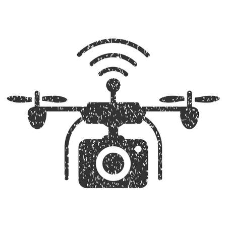 Radio Camera Drone grainy textured icon for overlay watermark stamps. Flat symbol with scratched texture. Dotted vector gray ink rubber seal stamp with grunge design on a white background. Illustration