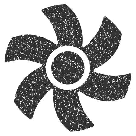 rotor: Rotor grainy textured icon for overlay watermark stamps. Flat symbol with unclean texture. Dotted vector gray ink rubber seal stamp with grunge design on a white background. Illustration