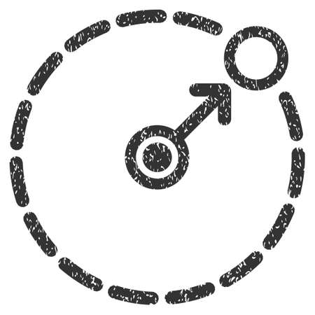 perimeter: Round Area Border grainy textured icon for overlay watermark stamps. Flat symbol with dust texture. Dotted vector gray ink rubber seal stamp with grunge design on a white background. Illustration