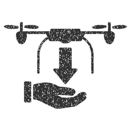 drop down: Unload Drone Hand grainy textured icon for overlay watermark stamps. Flat symbol with dirty texture. Dotted vector gray ink rubber seal stamp with grunge design on a white background.