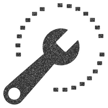 configure: Configure Diagram grainy textured icon for overlay watermark stamps. Flat symbol with dirty texture. Dotted vector gray ink rubber seal stamp with grunge design on a white background. Illustration