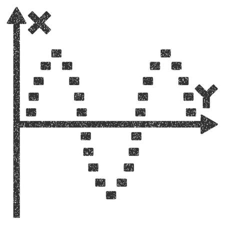 oscillations: Dotted Sinusoid Plot grainy textured icon for overlay watermark stamps. Flat symbol with unclean texture. Dotted vector gray ink rubber seal stamp with grunge design on a white background.