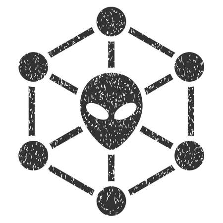 Alien Network grainy textured icon for overlay watermark stamps. Flat symbol with scratched texture. Dotted vector gray ink rubber seal stamp with grunge design on a white background. Illustration