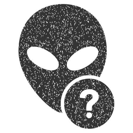 status icon: Alien Status grainy textured icon for overlay watermark stamps. Flat symbol with scratched texture. Dotted vector gray ink rubber seal stamp with grunge design on a white background.