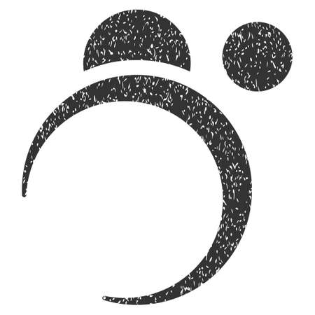 Planet System grainy textured icon for overlay watermark stamps. Flat symbol with dirty texture. Dotted vector gray ink rubber seal stamp with grunge design on a white background.