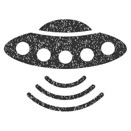 Ufo grainy textured icon for overlay watermark stamps. Flat symbol with dust texture. Dotted vector gray ink rubber seal stamp with grunge design on a white background.
