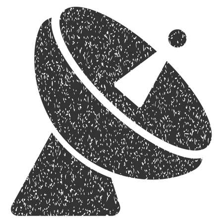 radio telescope: Radio Telescope grainy textured icon for overlay watermark stamps. Flat symbol with dust texture. Dotted vector gray ink rubber seal stamp with grunge design on a white background.