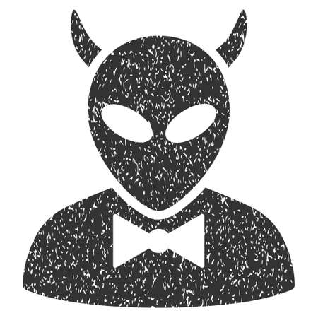 dire: Devil grainy textured icon for overlay watermark stamps. Flat symbol with dust texture. Dotted glyph gray ink rubber seal stamp with grunge design on a white background.