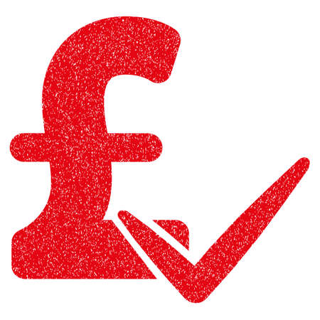 Accept Pound grainy textured icon for overlay watermark stamps. Flat symbol with scratched texture. Dotted glyph red ink rubber seal stamp with grunge design on a white background.