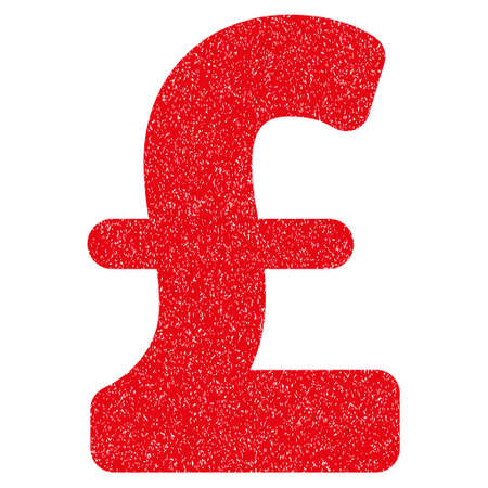 Pound Sterling grainy textured icon for overlay watermark stamps. Flat symbol with dirty texture. Dotted glyph red ink rubber seal stamp with grunge design on a white background.