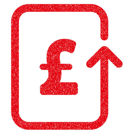 Reverse Pound Transaction grainy textured icon for overlay watermark stamps. Flat symbol with unclean texture. Dotted glyph red ink rubber seal stamp with grunge design on a white background.
